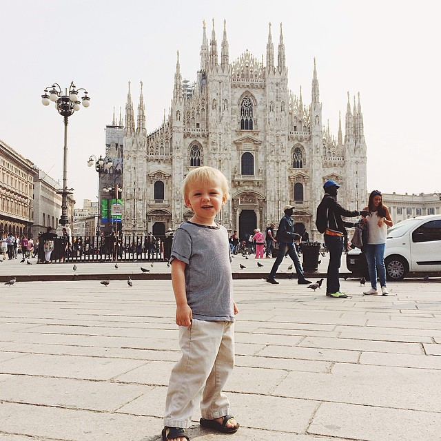 As long as there is a tram ride involved, this kid will go with me anywhere #milano #duomo
