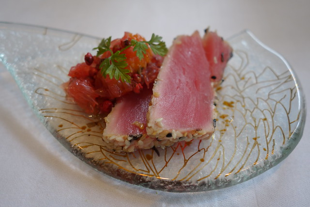 Yellow Fin Tuna Tataki coated in Sesame Seeds & served with Citrus Salsa. Brasserie Les Saveurs. St. Regis Singapore
