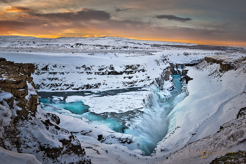 gullfoss sunrise winter dawn pentaxk3 landscapes panorama clouds skyscapes streams landscapephotography hdr rocks canyons waterscapes suðerland waterfalls rivers scenic snow philipesterle iceland skies hvítáriver naturephotography ice goldencircle waterfall canyon canyonscapes fingolfinphoto is