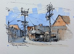 """Kensington Market Toronto"" Line and wash Watercolor. New YouTube Video. Just two colors"