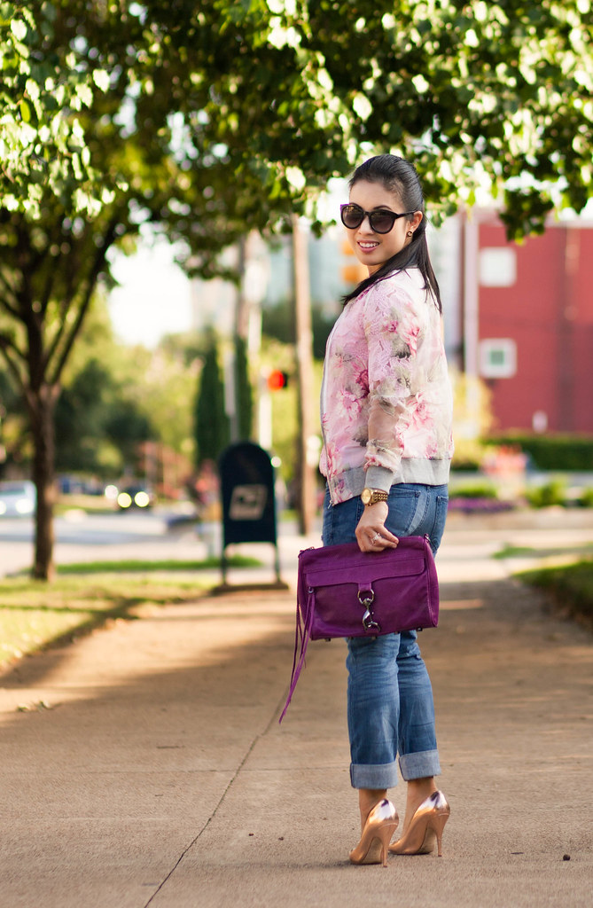 cute & little blog | petite fashion | sheer floral bomber jacket, pink cutout floral top, distressed boyfriend jeans, minkoff mac clutch, kate spade gold pumps