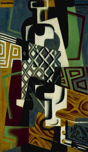 Juan Gris (1887-1927), <em>Nature morte (Bouteille et verre) [Still Life (Bottle and Glass)],</em> 1917″>    </p> <p>Oil on wood<br /> 18 x 10 ½ in.<br /> Museum Purchase, 52.36 </p> <p><a href=