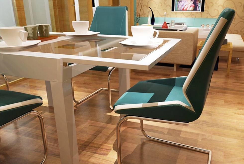 gloss white modern extendable dining table glass top dinning furniture
