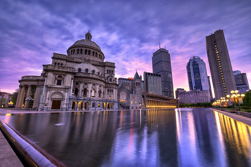 longexposure usa sun color reflection church pool boston night sunrise massachusetts colourful scientist thefirstchurchofchrist nikond800