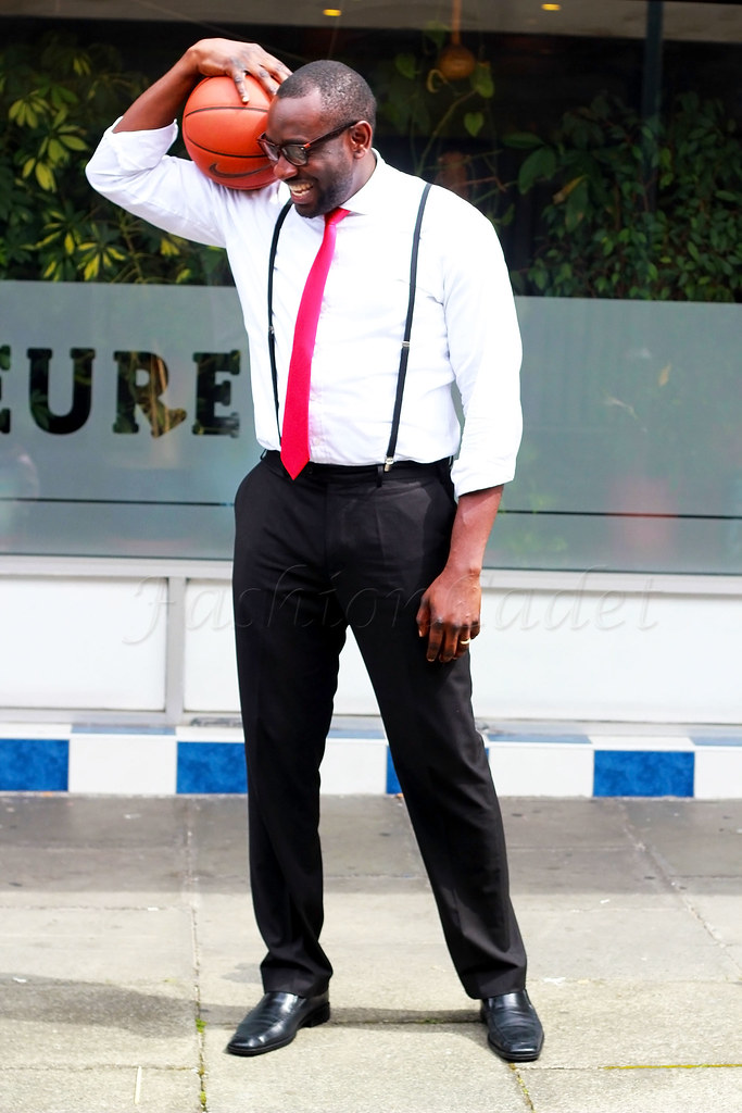 suspenders-&-necktie-mens-cooperate-style, A Guide To Men's Shirt & Tie Combinations, Red Necktie, suspenders, white shirt, black trousers, Red Neckties, suspender, crisp white shirt, black smart trousers, Men's smart-casual outfit