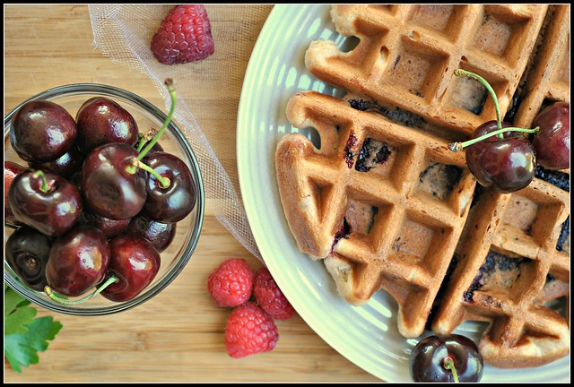 Cherry Almond Muffin Waffles 2