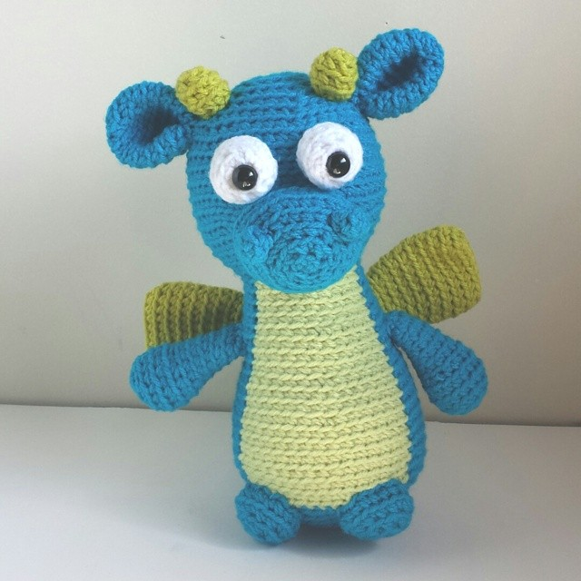 finished up this cute custom order dragon! I love his buggy eyes #itscrochetshop