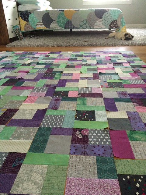 Quarter Square Triangle Quilt in Progress