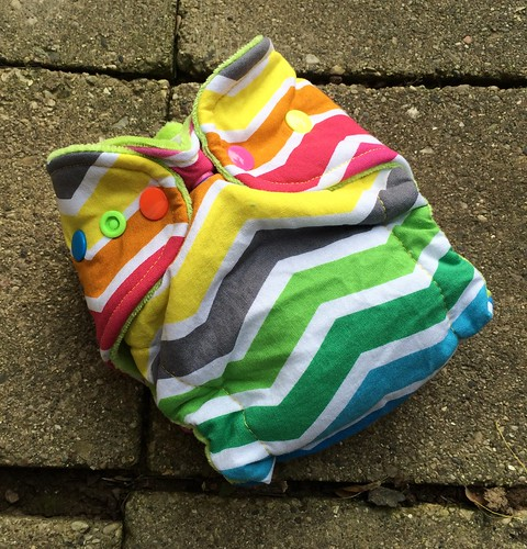Bumstoppers Newborn Hybrid Fitted  Rainbow Chevron