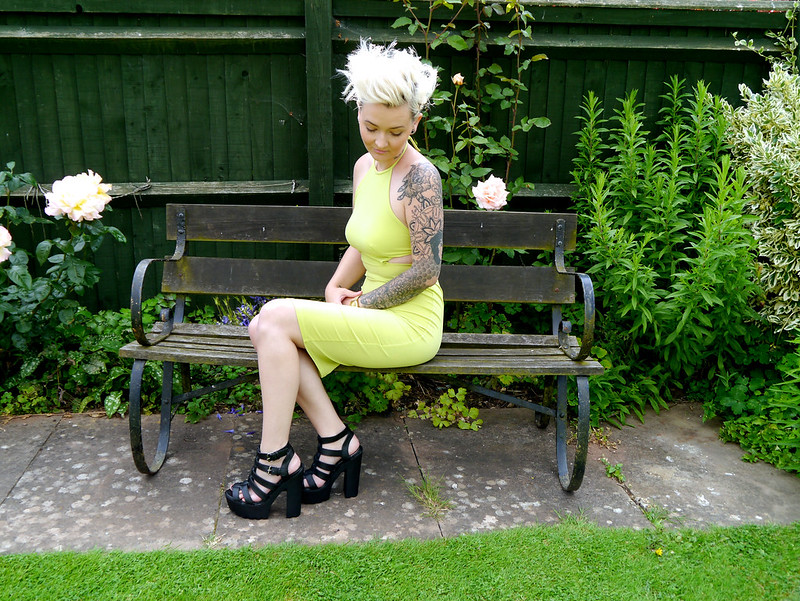 cleated heels, cut out dress, desire clothing, katethisiswhatido, lime cut out dress, lime green dress, open back dress, fashion, pixie cut, pixi cut, plaited hair,