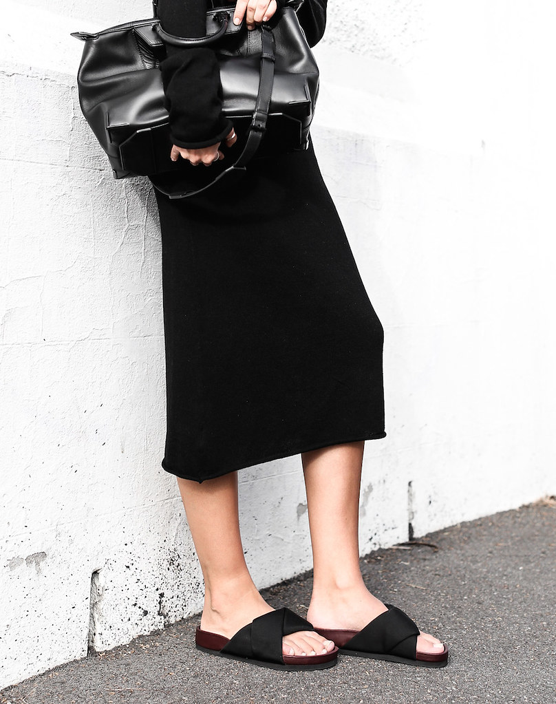 modern legacy fashion blog street style Celine cross slide sandals ugly trend Bassike knit midi dress fall Alexander Wang Prisma tote bag all black (1 of 1)