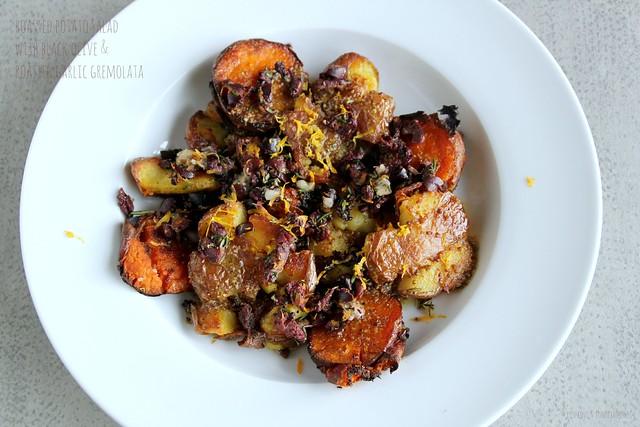 Roasted Potato Salad with Black Olive & Roasted Garlic Gremolata 1