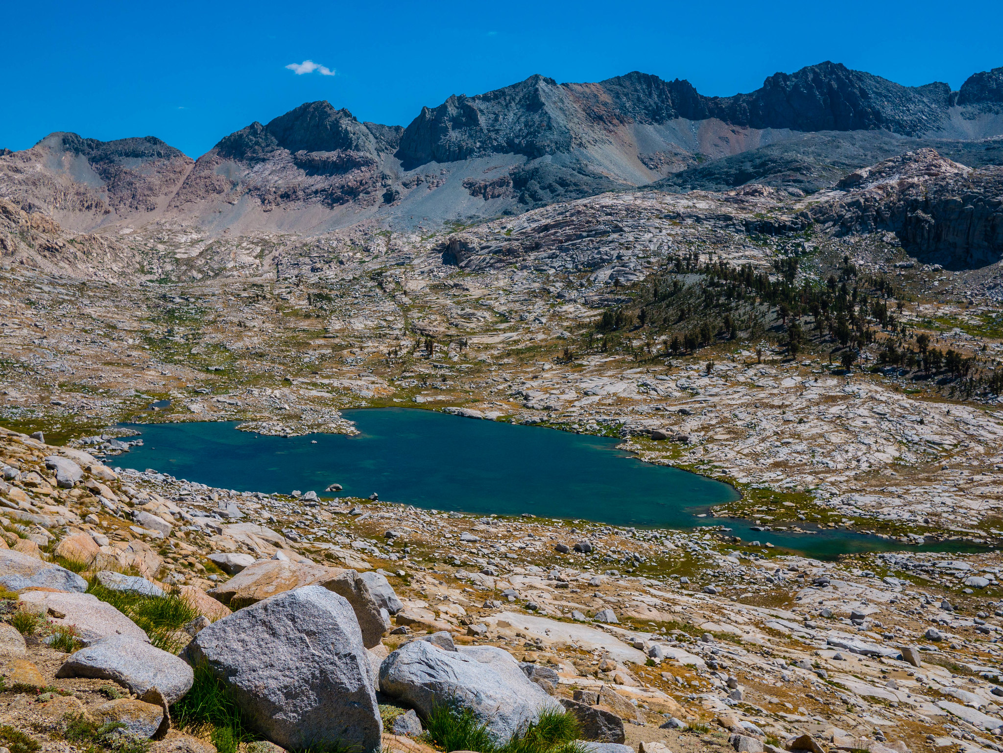Lowest of the lakes in the 9 Lakes Basin, as seen from the Kaweah Gap