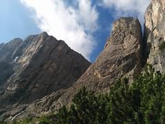 Pisciadù Klettersteig Blick hoch zur Hängebrücke