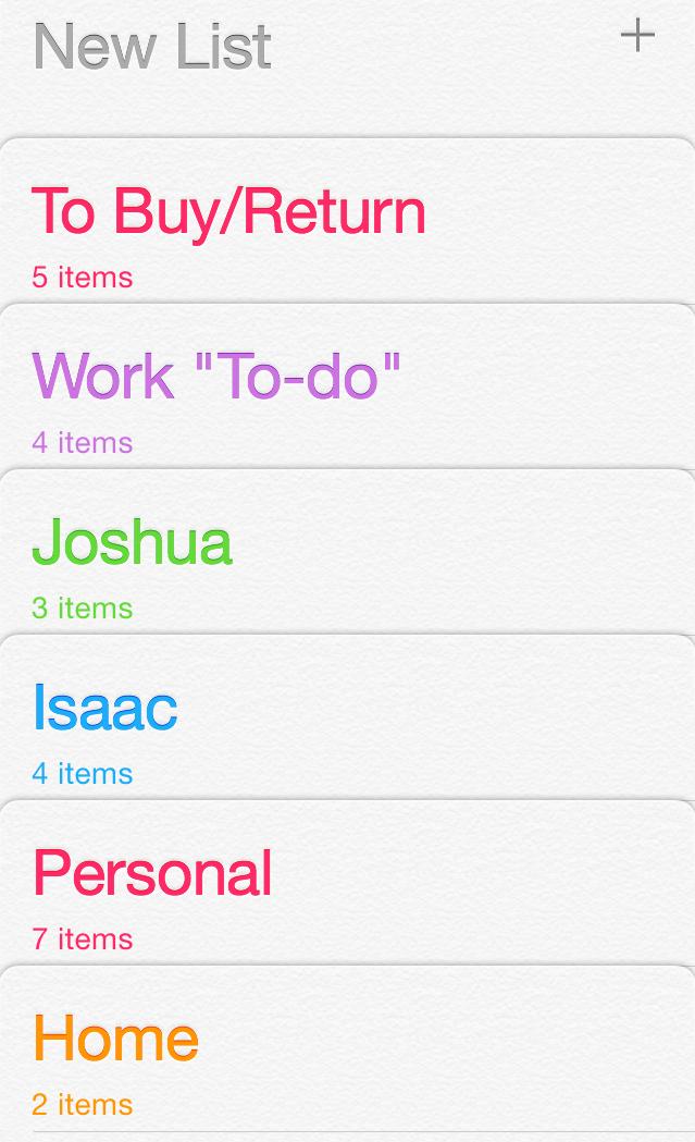 Screenshot- Reminders App