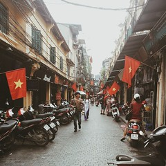 Hanoi streets. Tomorrow is Vietnam's independence day.