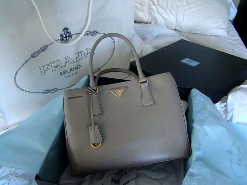 Grey Prada Saffiano Tote bag