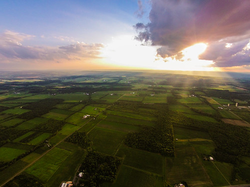 sun set clouds aerial vision fields phantom godrays dji countryisde