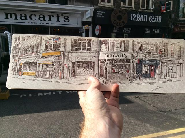 Sketching Denmark St, London
