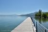 Wooden causeway on Lake Zurich near Wädenswil, Switzerland