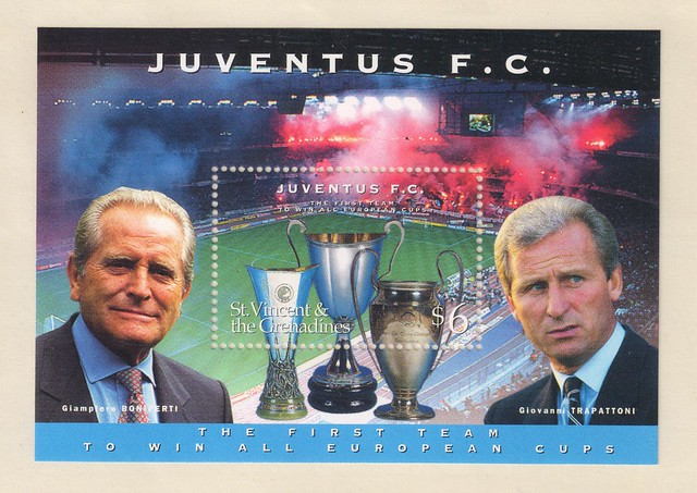 juventus the first team to win all europe cups stamp - st. vincent & the grenadines