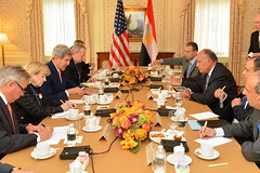 U.S. Secretary of State John Kerry meets with Egyptian Foreign Minister Sameh Hassan Shoukry in New York City on September 23, 2014. The Secretary is holding meetings in conjunction with the 69th Session of the United Nations General Assembly. [State Department photo/ Public Domain]
