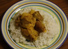 Curried Sausages With Pineapple, Coconut, Onion With Steamed Rice.... (dinner)