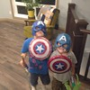 We are so safe. TWO Captain Americas in our house tonight.