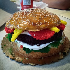 Burger Cake. Chocolate, strawberry and other flavors. Oh my!!!!! #francescos #FrancescosBakery