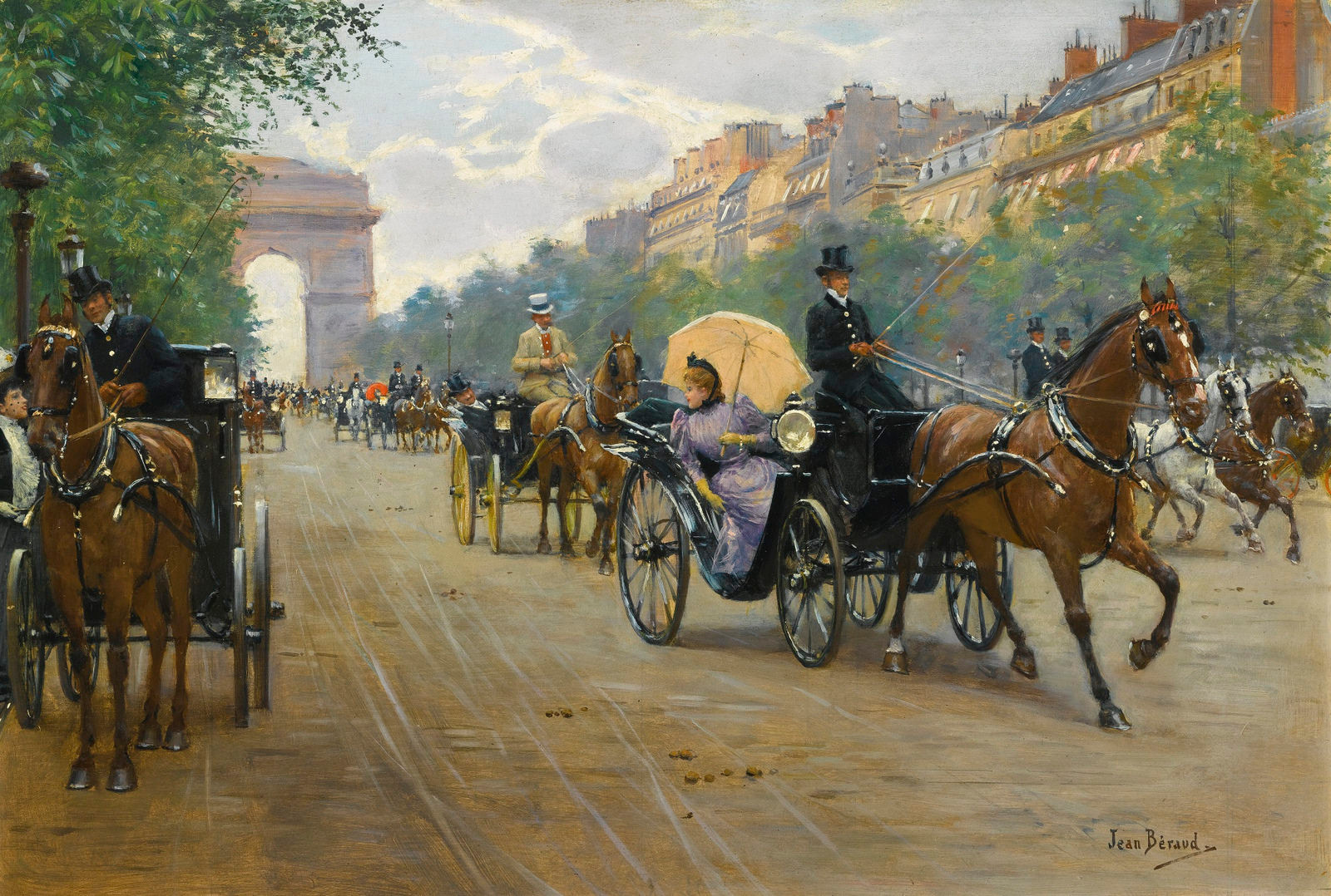 Scene on the Champs-Élysées by Jean-Georges Béraud