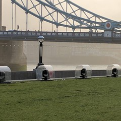 Line of spotlights set up near Tower Bridge. Some kind of show coming soon?