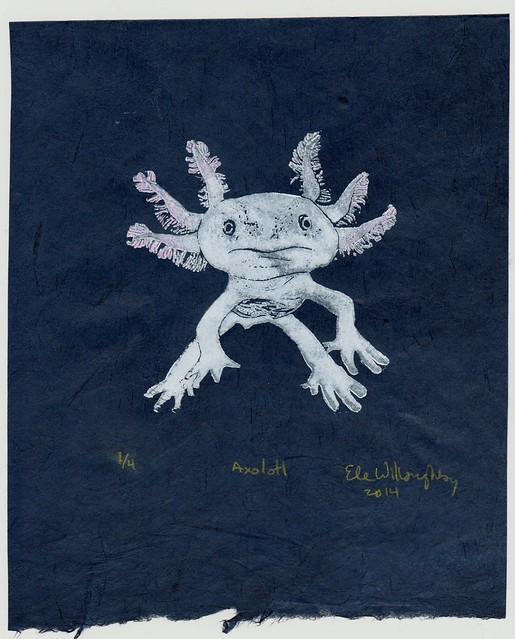 Axolotl linocut