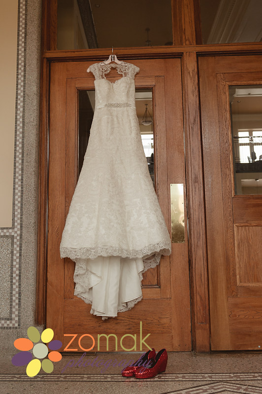 Stunning lace wedding gown at Front Street Station in Butte Montana