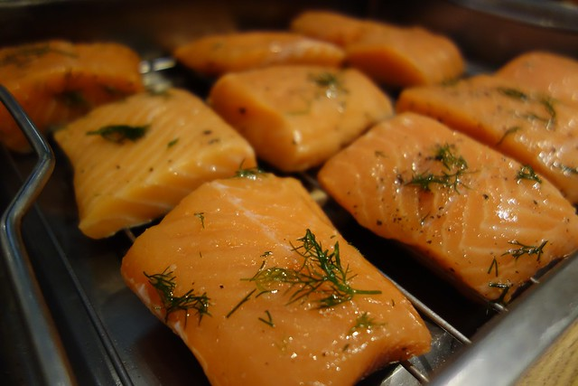 Our salmons, all seasoned and ready for the oven.