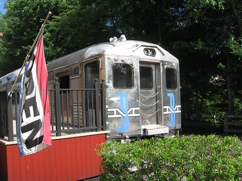 Photo of the train car at the end of the Minuteman bike trail