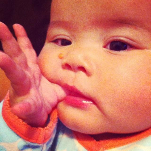 Melanie found her thumb.