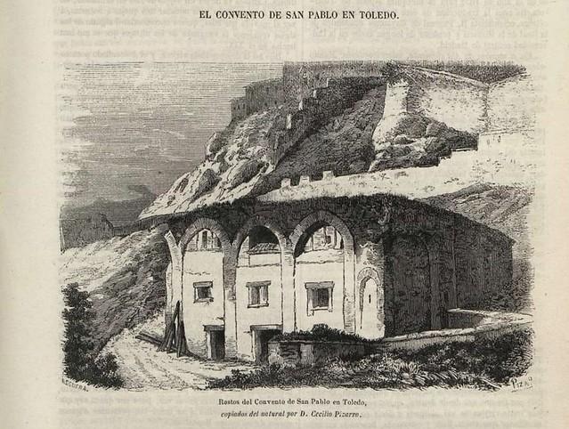 Grabado del convento de San Pablo del Granadal publicado el 14 de junio de 1857 en el Semanario Pintoresco. Dibujo del natural por Cecilio Pizarro
