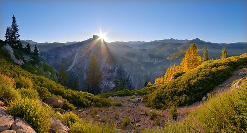 california light panorama color nature sunrise landscape nikon adventure journey yosemite halfdome yosemitenationalpark glacierpoint easternsierras cloudsrest sunstar