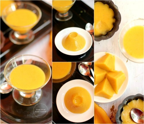 agar agar pudding with mango