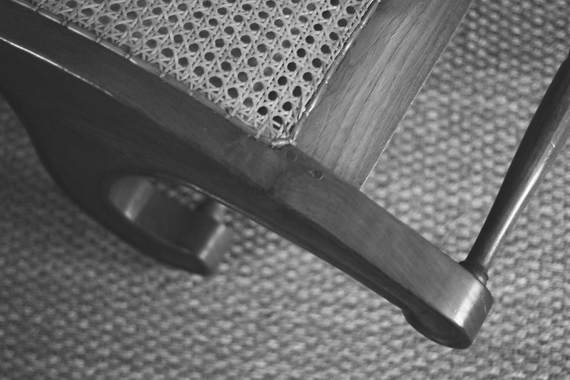 Woven chair wood detail b&w
