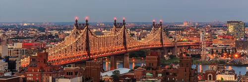 newyorkcity longexposure bridge sunset panorama newyork skyline cityscape dusk manhattan horizon queens eastriver bluehour rooseveltisland longislandcity nycskyline queensboro silvercup 59thstreet edkoch blackwellsislandbridge strykapose 617panorama