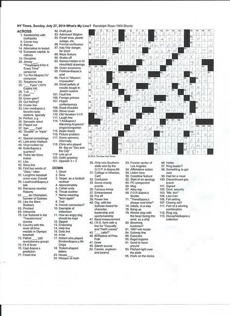 NYT Sunday Puzzle - July 27, 2014