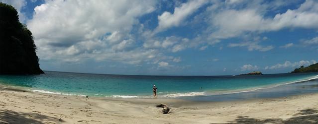 white sandy beach panorama