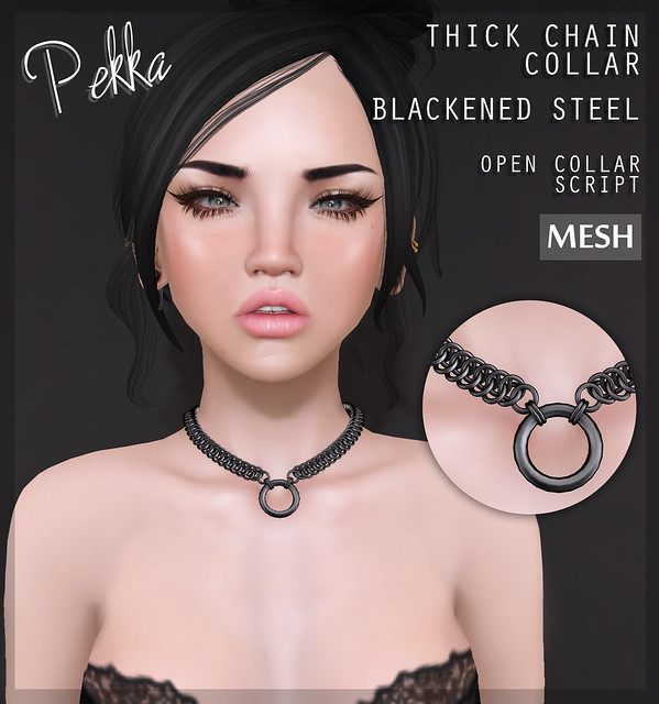 Thick chain collar blackened steel