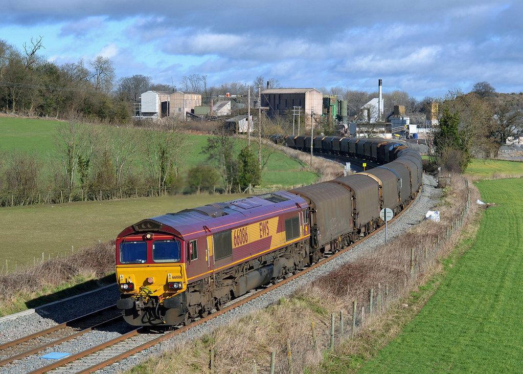 66086 at Bayston Hill with (6v75) 0930 Dee Marsh - Margam steel 25022014