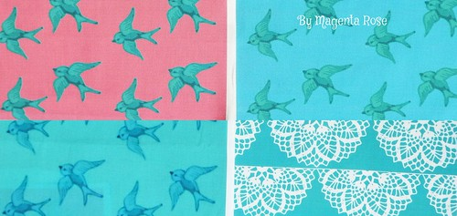 Some of my vintage inspired bluebird designs for fabric and wallpaper