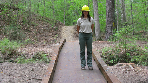 Jennifer Heisey Barnhart on the trail on Sumter National Forest. Forest Service photo.