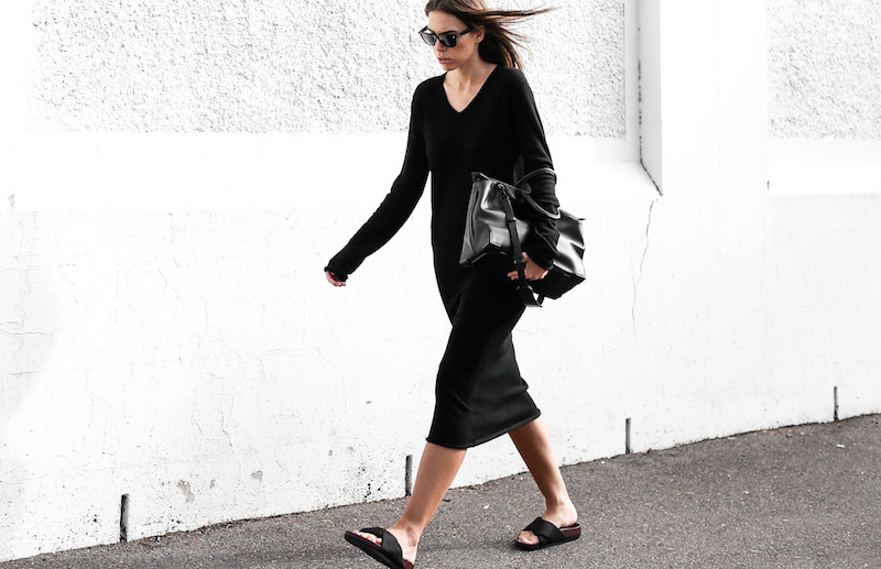 modern legacy fashion blog street style Celine cross slide sandals ugly trend Bassike knit midi dress fall Alexander Wang Prisma tote bag all black (2 of 9)