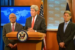 U.S. Secretary of State John Kerry delivers remarks at the Rollout of the 2013 Report on International Religious Freedom at the U.S. Department of State in Washington, D.C., on July 28, 2014. The Secretary is joined by Assistant Secretary of State for Democracy, Human Rights and Labor Tom Malinowski and Rabbi David Saperstein, President Obama's nominee to serve as Ambassador-at-Large for International Religious Freedom. You can read the Secretary's remarks here: go.usa.gov/5eRY. [State Department photo/ Public Domain]