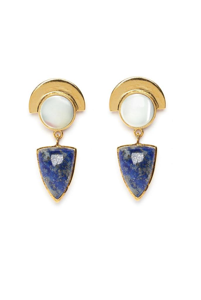 Lapis Shield Earrings